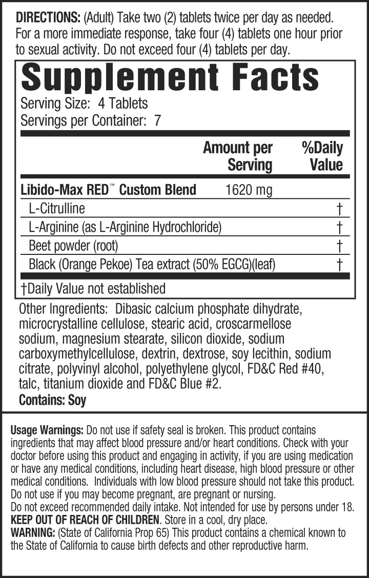Libido-Max RED ingredients