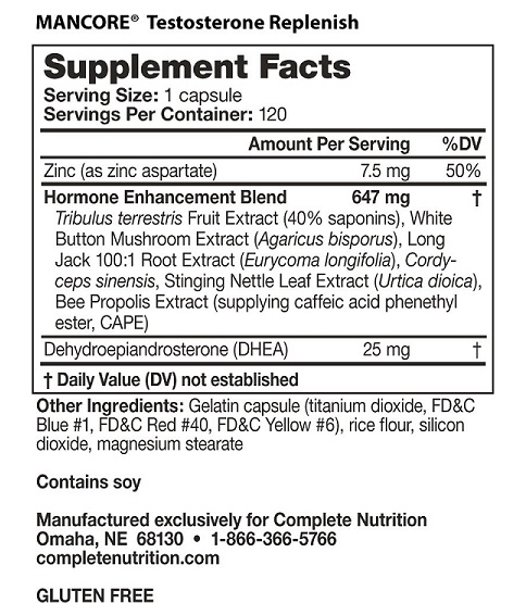 mancore testosterone replenish ingredients