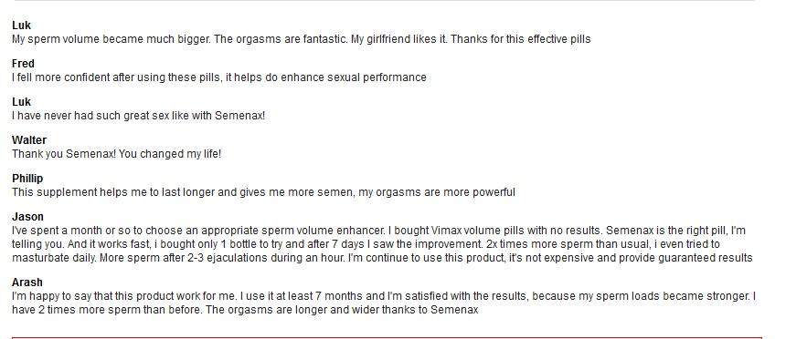 Semenax reviews