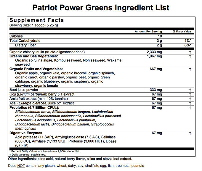 patriot power greens ingredients