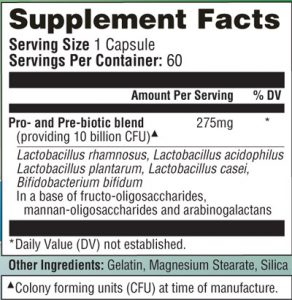Bowtrol Probiotics ingredients label
