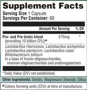 Bowtrol Probiotics ingredients label
