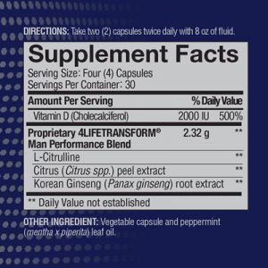 4Life Man ingredients label