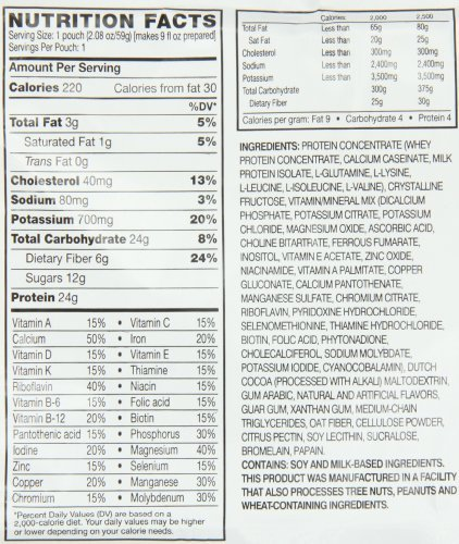 AdvoCare Meal Replacement Shake label