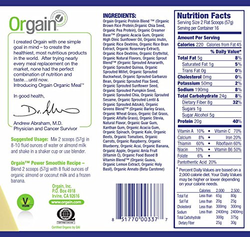 Orgain Meal Replacement ingredients