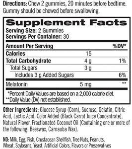 Natrol Melatonin ingredients