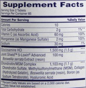 Osteo Bi-Flex ingredients