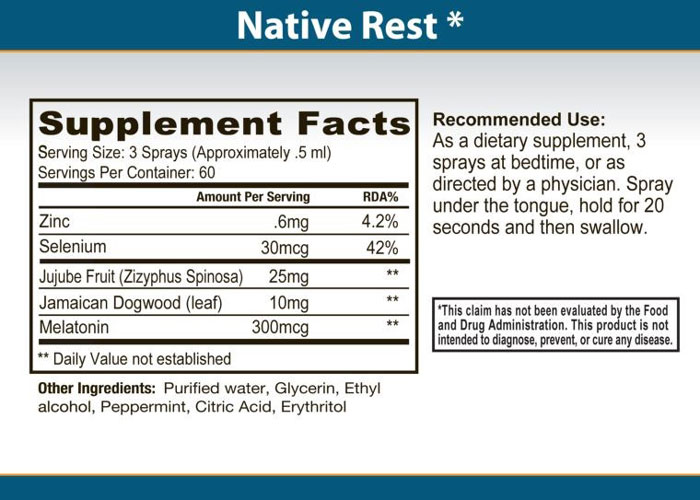 Primal Force Native Rest ingredients