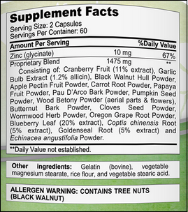 aSquared Nutrition Parasite ingredients