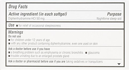 unisom sleepgels ingredients label