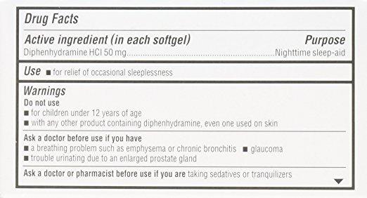 unisom sleepgels ingredients label