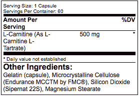 Applied Nutriceuticals L-Carnitine ingredients