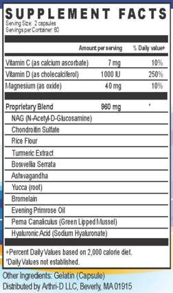 Arthri D ingredients
