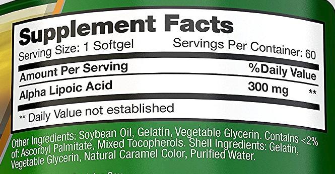 BRI Nutrition Alpha Lipoic Acid ingredients