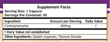 Centrophenoxine ingredients