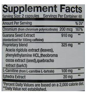 Ripped Power ingredients