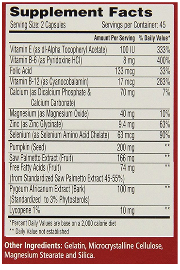 Urinozinc ingredients