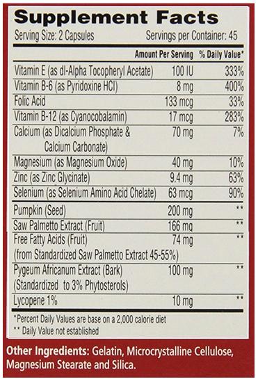 Urinozinc ingredients