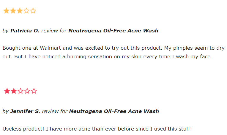 Neutrogena Oil-Free Acne Wash reviews