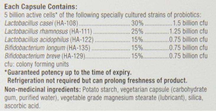 Webber Naturals Probiotic 5 Billion ingredients