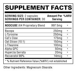 NooCube ingredients