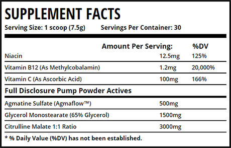 Pump Powder ingredients