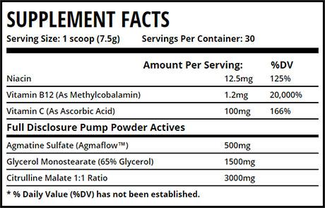 Pump Powder ingredients
